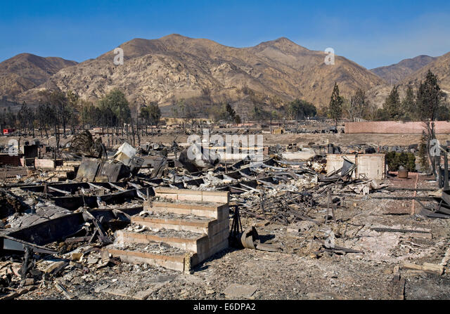 Oakridge Trailer Park Devastated After Sylmar Wildfire In November 2008 California USA