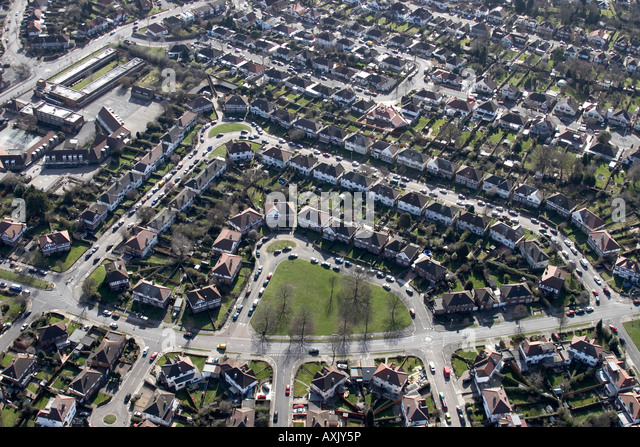 High level oblique aerial view south of Ruislip houses and suburbs London  HA4 England UK Feb. Bathstore Ruislip