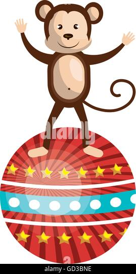 Circus Monkey Clip Art - Royalty Free - GoGraph