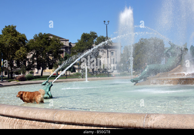 Dog In Water Fountain Stock Photos Dog In Water Fountain Stock Images Alamy
