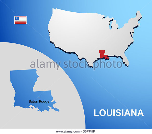 Louisiana On Usa Map With Map Of The State Stock Image