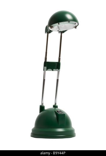 green desk lamp on white background stock image
