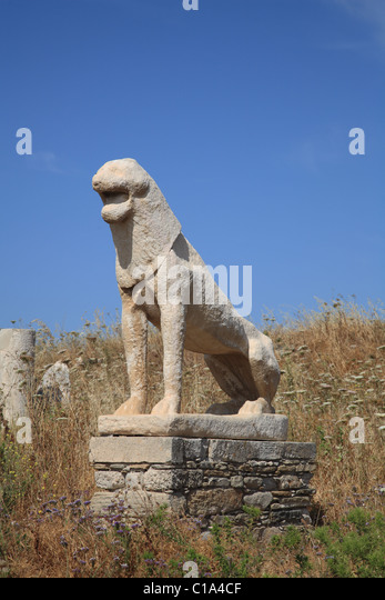 Greece Terrace Of Lions Stock Photos & Greece Terrace Of ...