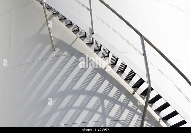 Stairs, Tank, Steps, Railings, Spiral, Shades,   Stock Image