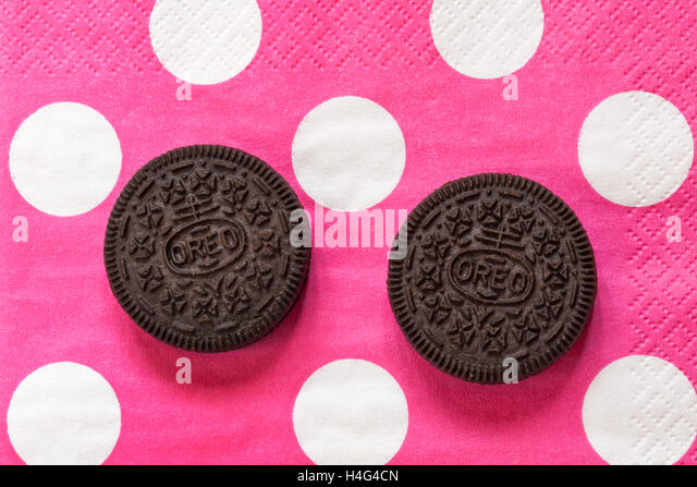 Packet of limited edition Strawberry Cheesecake flavour Oreo biscuits ...
