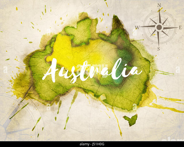 Watercolor world map stock photos watercolor world map stock australia map stock image gumiabroncs Image collections
