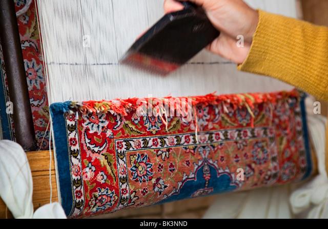 Delightful Detail Of Turkish Rug Weaving In Kusadasi,Turkey   Stock Image
