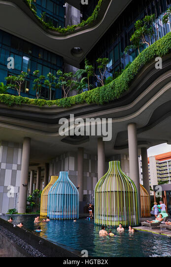 Singapore, Colonial District and Boat Quay, Parkroyal hotel - Stock Image