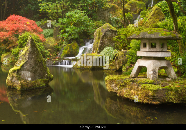 Koi pond autumn stock photos koi pond autumn stock for Portland japanese garden koi