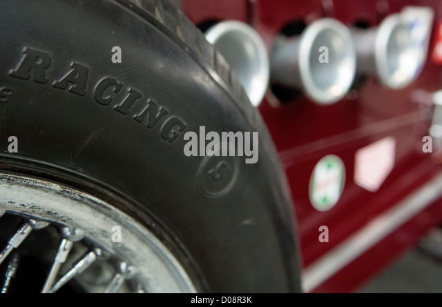 wire wheel of classic racing car stock image