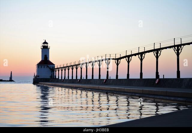 Images of the historic, iconic Michigan City lighthouse at Washington Beach in Michigan City, Indiana. - Stock Image