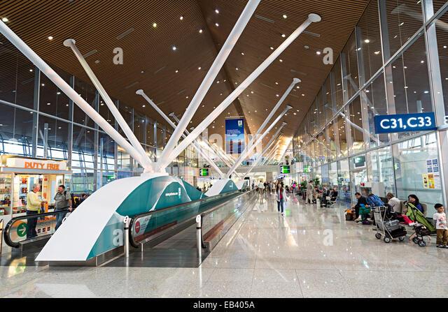 airport walking conveyor belt. conveyor belt walkways in airport, kuala lumpur, malaysia - stock image airport walking