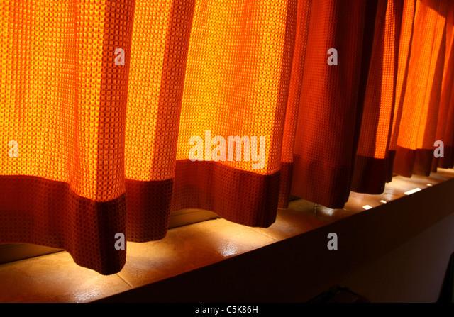 Orange red curtains