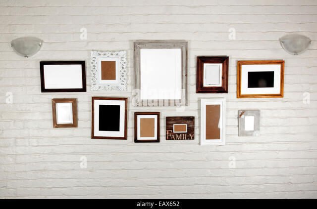 empty frames and lamps on white bagged wall stock image - Empty Frames On Wall
