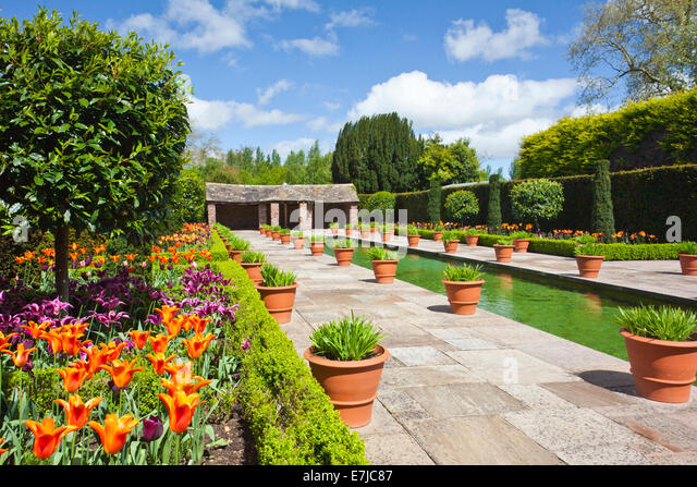 Spring Flowers In The Dutch Garden At Hampton Court Castle Herefordshire  England UK   Stock Image