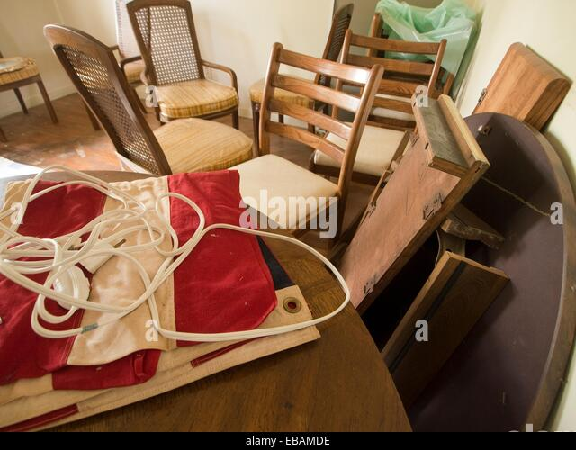 empty chair table in abandoned house abandoned stock photos empty chair table in abandoned. Black Bedroom Furniture Sets. Home Design Ideas