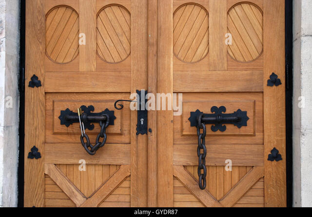 Old massive wooden doors. Old castle wooden doors. - Stock Image & Massive House Front With An Old Wooden Door Stock Photos \u0026 Massive ... Pezcame.Com