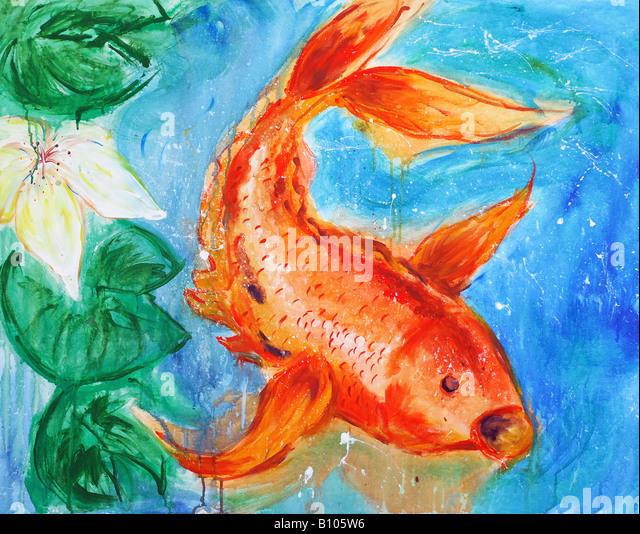 Koi fish painting stock photos koi fish painting stock for Koi carp art