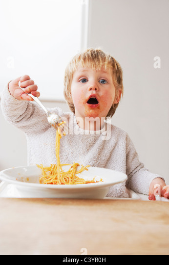 One Year Old Baby Eating Stock One Year Old Baby Eating