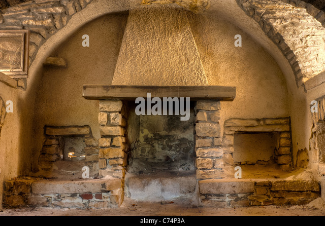 Old Fireplace In A Farmhouse Interior Apulia Italy