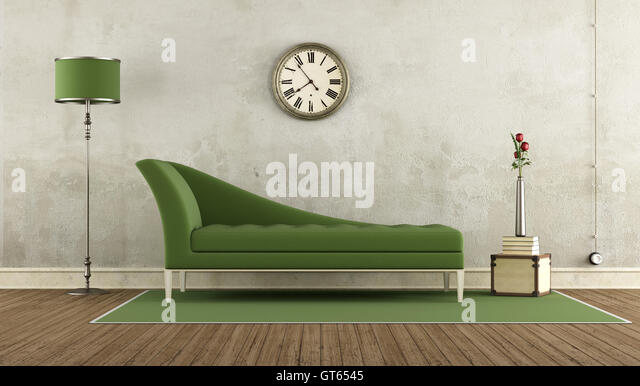 Green And White Retro Living Room With Classic Sofa