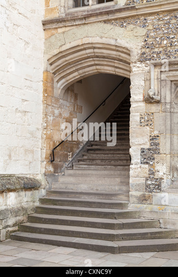 Exterior Stone Staircase To The Dinning Hall Off The Main Quadrangle    Stock Image
