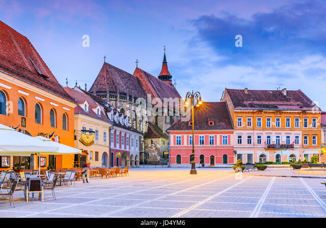 Brasov, Romania. Black Church in the Main Square of the Old Town. - Stock Image