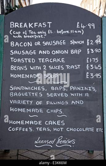 breakfast menu chalkboard lichfield england western europe stock image