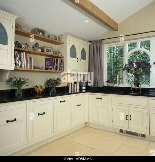 Kitchen With Black Worktops: Kitchen Shelving Monochromatic Stock Photos & Kitchen