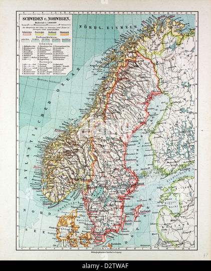 Map Norway Sweden Stock Photos Map Norway Sweden Stock - Norway map larvik