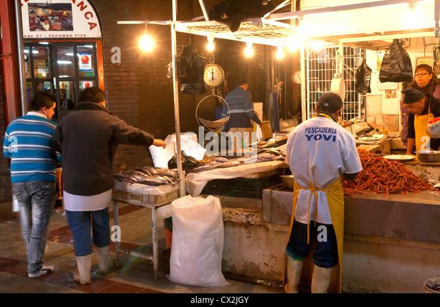 Chile santiago fish stall stock photos chile santiago for Central fish market