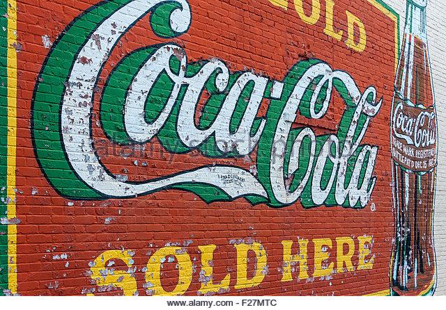 Coca cola advertisement vintage stock photos coca cola for Coca cola wall mural