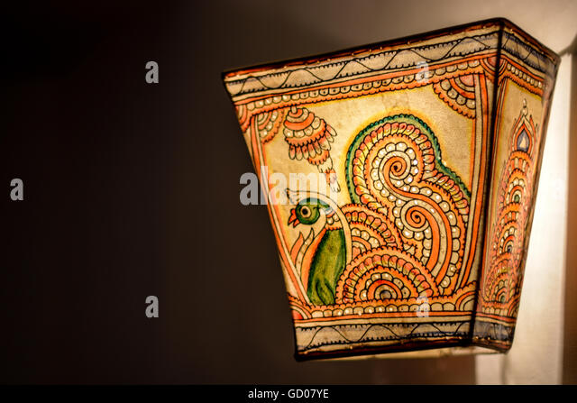 Indian lamp shade stock photos indian lamp shade stock images alamy peacock design cloth indian craft lamp shade lit up stock image aloadofball Choice Image
