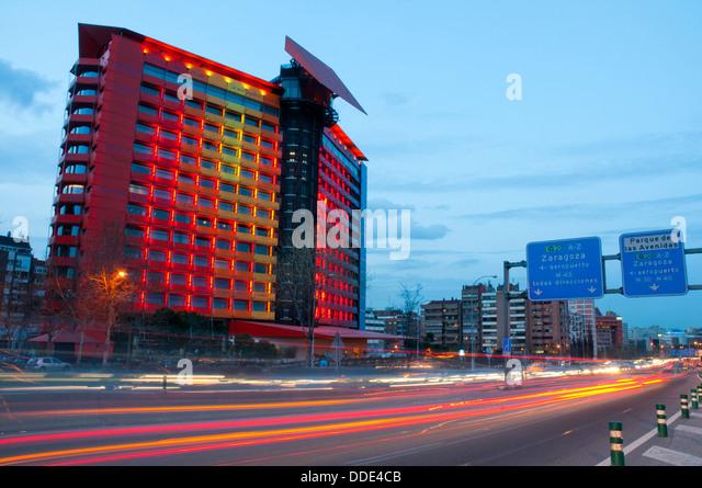 Puerta America Hotel and A-2 motorway, night view. Madrid, Spain.