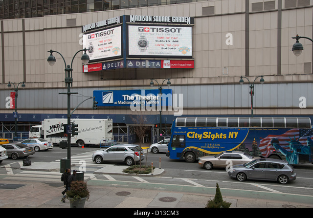 The Theater At Madison Square Garden Manhattan New York USA Media Solutions  Company Truck Parked Outside