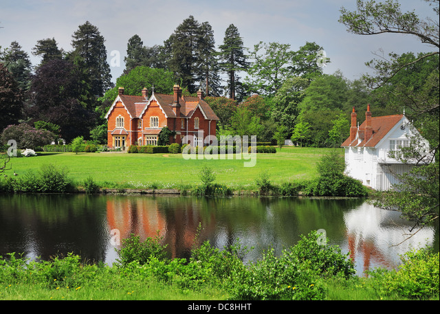 Lakeside House In Windsor Great Park With Woodland Behind