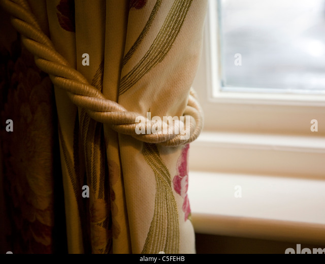 Curtains Drawn Back   Stock Image
