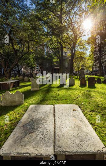 Saint Paul's Chapel cemetery. Financial District, Lower Manhattan, New York City - Stock Image