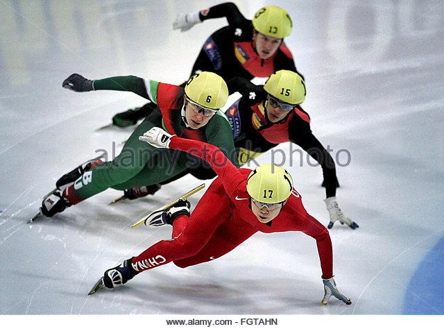 Chinese Meng Wang Front Leads Ahead Of Bulgarian Evgenia Fgtahn Radanova Stock Photos