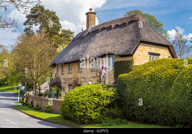 Thatched Cottages At Chipping Campden Cotswold Gloucestershire England United Kingdom Europe
