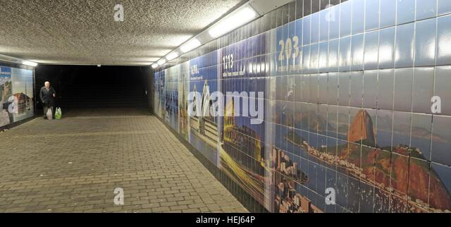 Koki Western Union : Motherwell Town Centre Underpass at night,Lanarkshire,Scotland,UK with