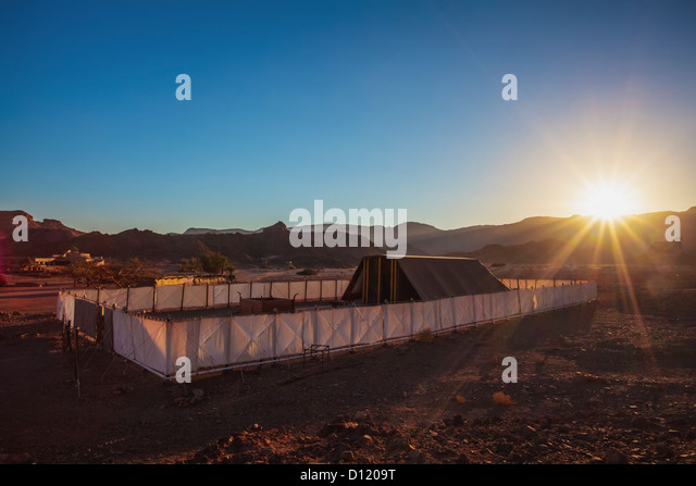 Sunburst Over The Replica Of The Tent Of Meeting And The Brazen Altar; Timna Park & Tent Of Meeting Stock Photos u0026 Tent Of Meeting Stock Images - Alamy