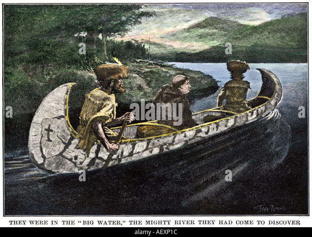 father jacques marquette and louis joliet in a canoe on the upper mississippi river 1673
