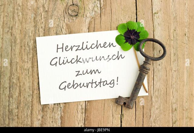 German Birthday Card Key Leafed Stock Photos German Birthday Card