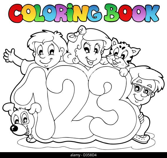 Coloring Book School Numbers