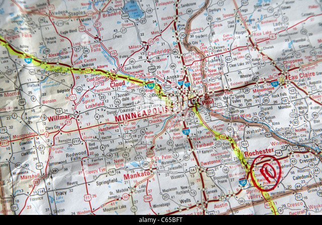Road Map Of The Usa With Route Planned Out In Highlighter Through Minneapolis Minnesota Usa
