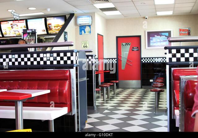 Fast food restaurant interior stock photos