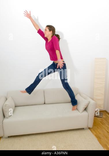 Jump On Sofa Stock Photos Jump On Sofa Stock Images Alamy