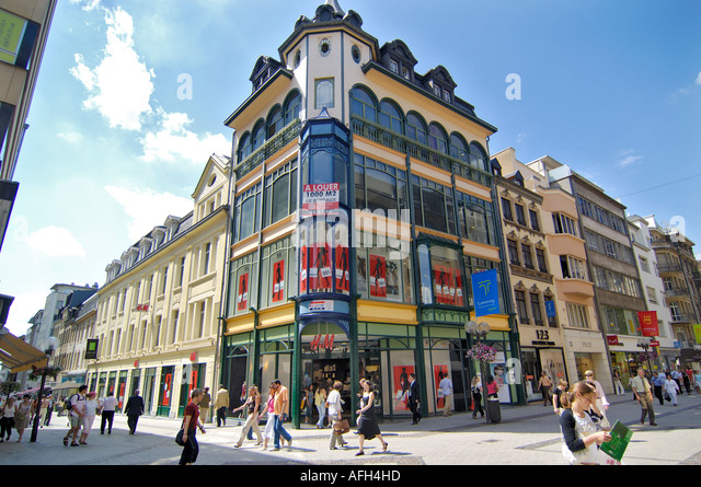 Europe luxembourg city shopping stock photos europe luxembourg luxembourg city lefthandside the grand rue stock image thecheapjerseys Gallery