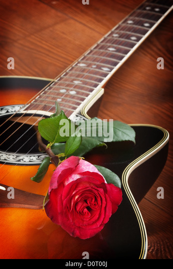 Red Acoustic Guitar Rose Stock Photos